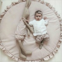 INS Baby Padded Play Game Mats Cotton Crawling Mat for Babies Girls Blanket Round Floor Carpet For Kids Interior Room Decoration