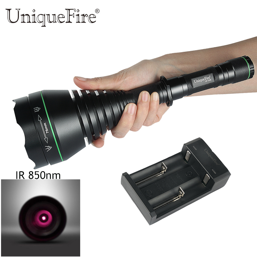 UniqueFire Night Vision Infrared Flashlight UF-1508 IR 850nm Rechargeable 18650 Lamp Torch 3 Modes T75 Flashlight+Charger цена 2017