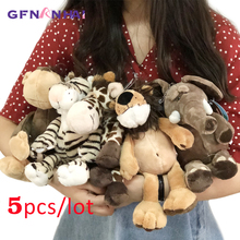5 יח\חבילה 25cm kawaii יער בעלי החיים סדרת בפלאש צעצוע חמוד ג ירפה פיל האריה קוף זברה בובות ממולא צעצועים רכים עבור ילדים
