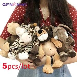 Image 1 - 5 יח\חבילה 25cm kawaii יער בעלי החיים סדרת בפלאש צעצוע חמוד ג ירפה פיל האריה קוף זברה בובות ממולא צעצועים רכים עבור ילדים