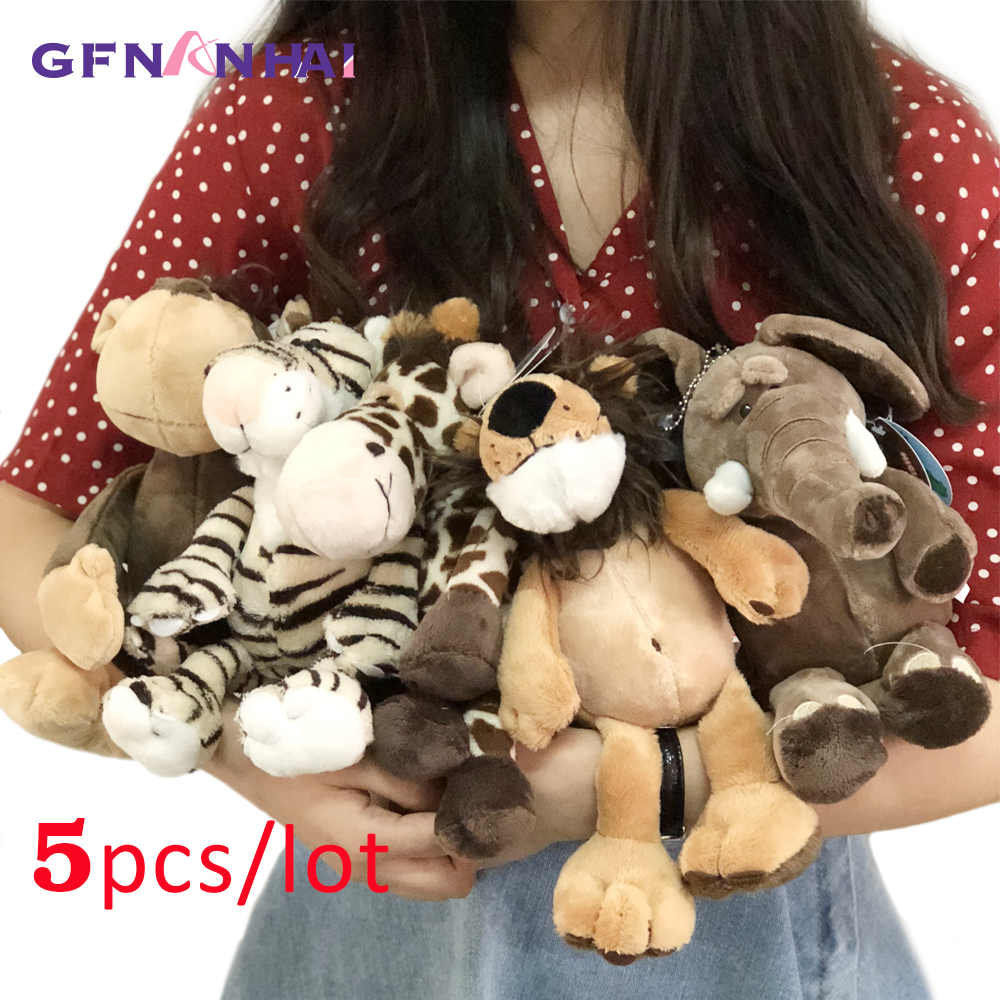 5pcs/lot 25cm Kawaii Forest Animal  Series Plush Toy Cute Giraffe Elephant Lion Monkey Zebra Dolls Stuffed Soft Toys For Kids