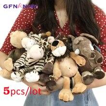 Animal de floresta kawaii 5 pçs/lote 25cm, brinquedo de pelúcia, bonito, girafa, elefante, macaco de leão, zebra, bonecas, brinquedos macios para crianças