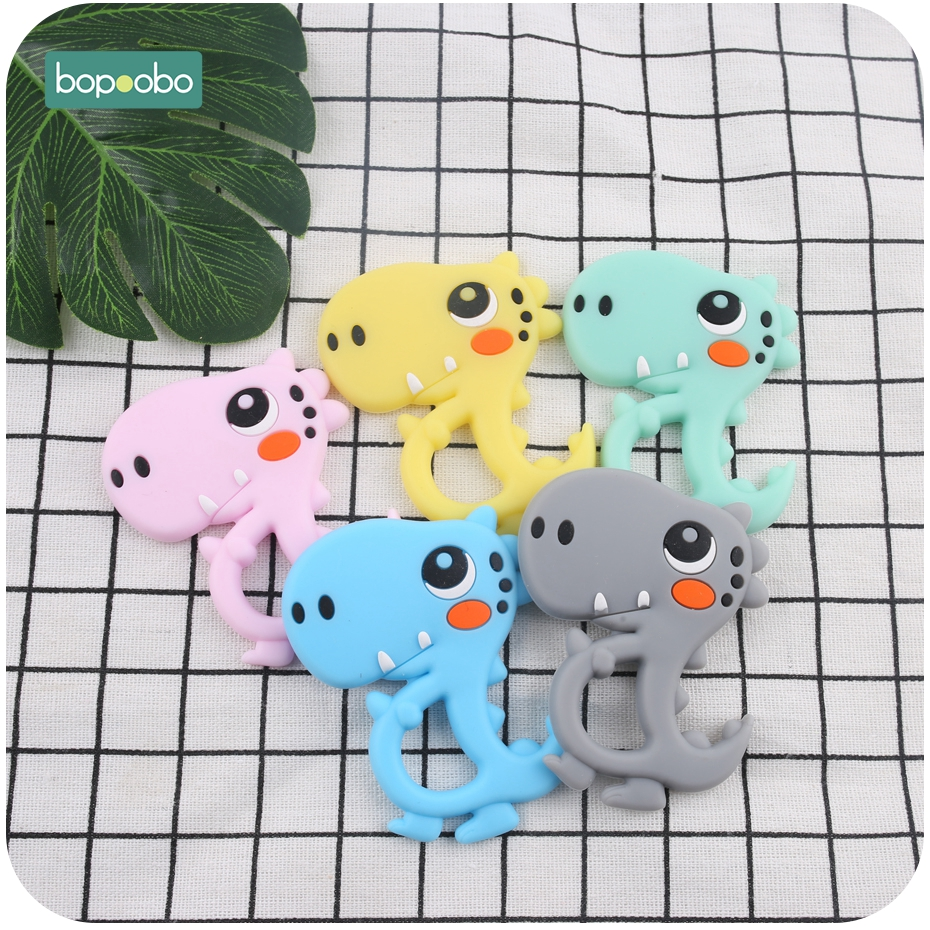 Bopoobo 5pc Silicone Dinosaur Teether Food Grade Teething Pendant DIY Pacifier Clipt Accessories Baby Nursing Silicone Beads