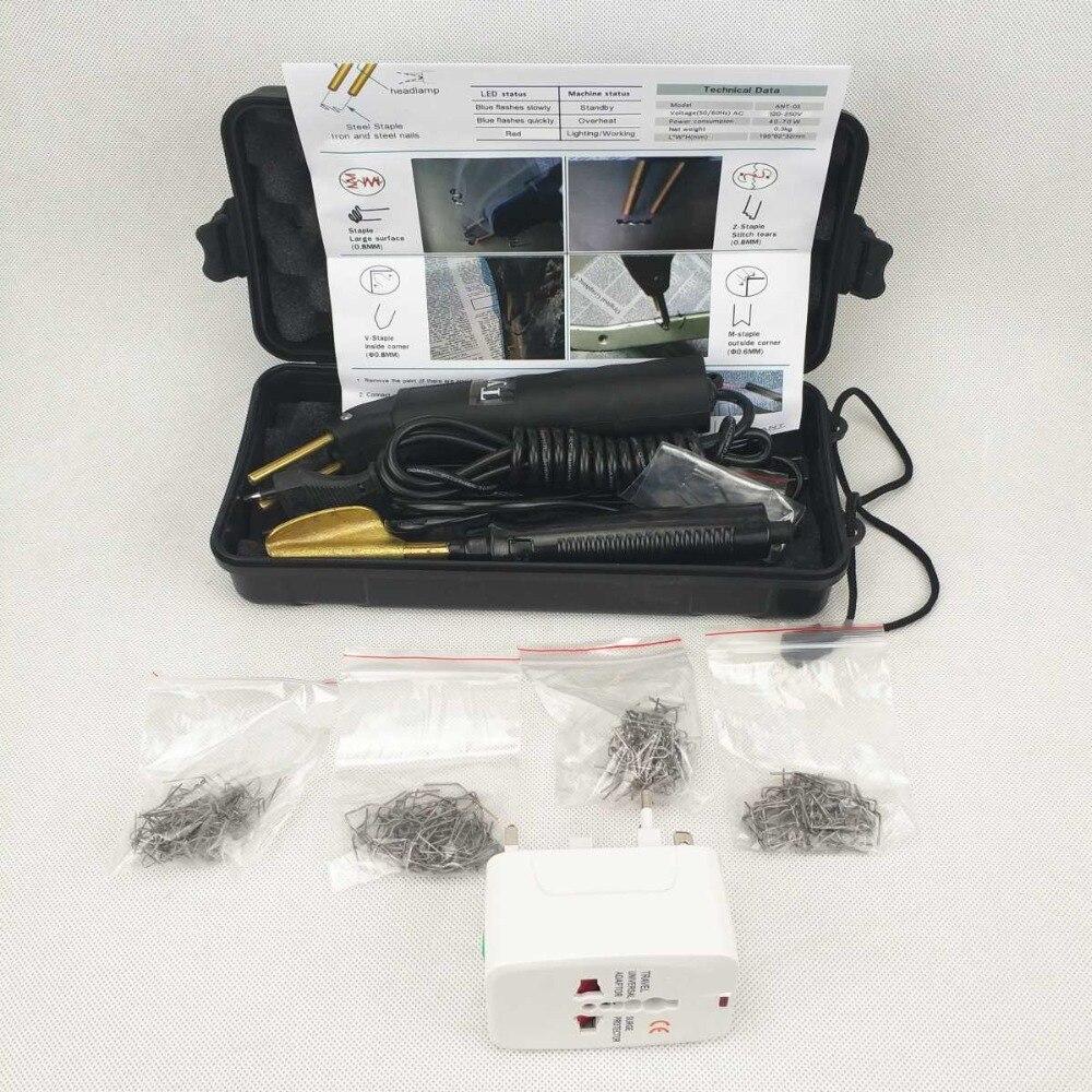 Parachoques del coche Kit de reparación caliente grapadora de reparación de plástico Kit de la máquina de soldadura y suavizado de hierro y 200 piezas grapadora