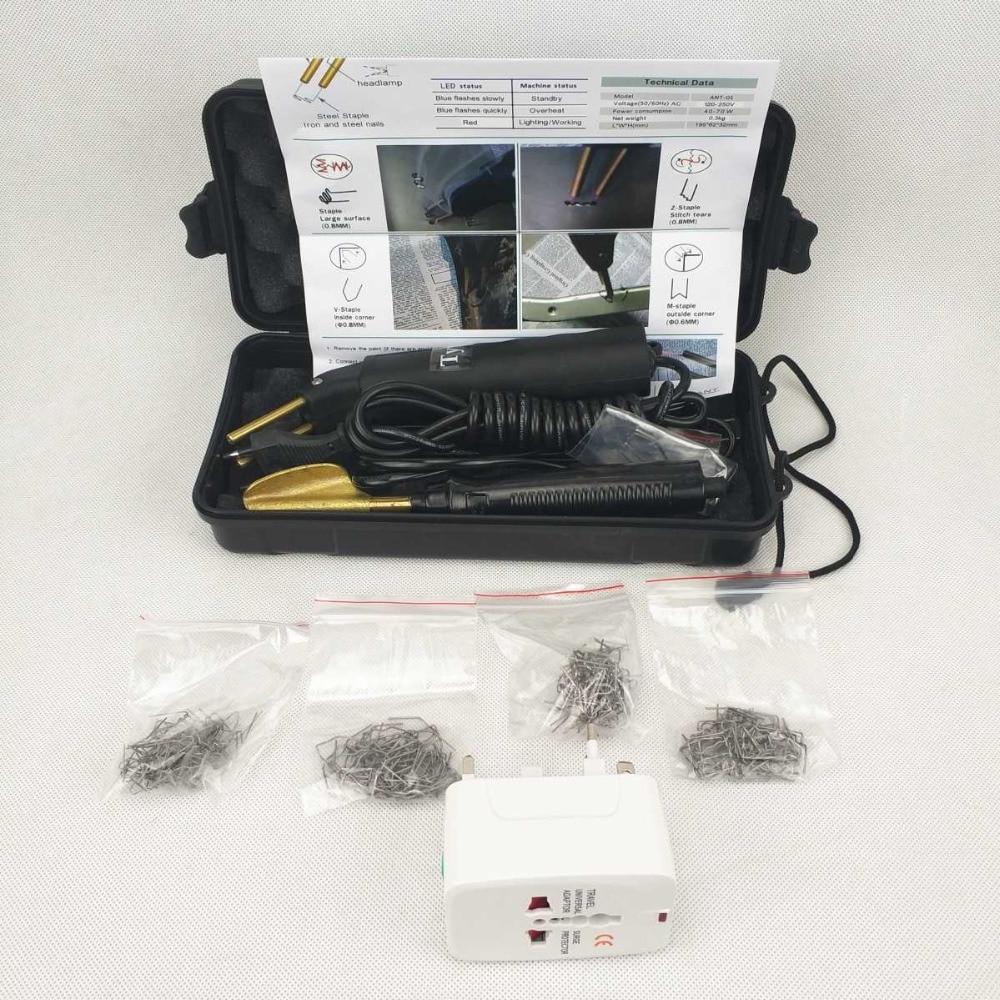 Voiture Pare-chocs Kit De Réparation Chaude Agrafeuse En Plastique De Réparation En Plastique Kit De Soudage Machine & Lissage Fer & 200 pcs Agrafeuse