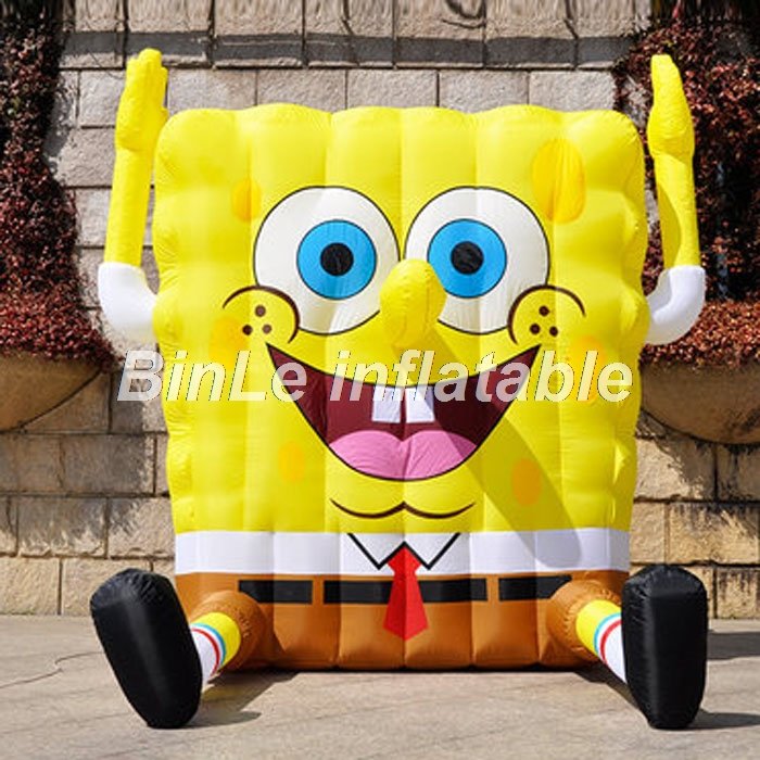 Hot sale air blow large inflatable spongebob with smile face yellow cartoon characters for advertising