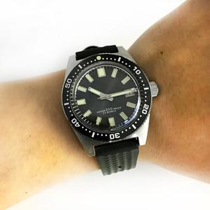 Image 3 - 62MAS גברים אוטומטי שעון נירוסטה שעון צלילה 200m מים עמיד קרמיקה לוח סן מרטין אופנה שעוני יד NH35