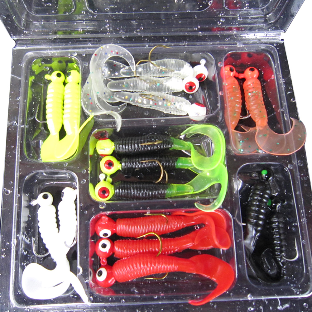 Hot 1 Set(17pcs) Fishing Lure Lead Jig Head Hook Grub Worm Soft Baits Shads Silicone Fishing Tackle Fishing Artificial lures 50pcs mix soft lure grub worm capuchin maggots fishing jig head hook bait set