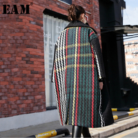 [EAM] 2018 New Autumn Winter Lapel Black Loose Large Size Thicken Back Colorful Striped Woolen Coat Women Fashion Parkas JI778