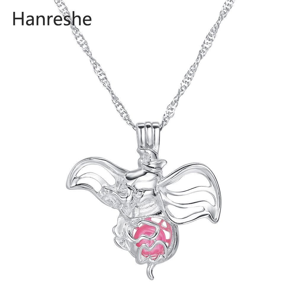 Hanreshe Cute Dumbo Pearl Necklace Women Stainless Steel Choker Pendant Long Chain Classic Jewelry Gift Women Custom Necklace