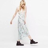 2019 New Women Sleeveless Lace Romantic Dress Green Flower Print Spaghetti Strap Long Dress