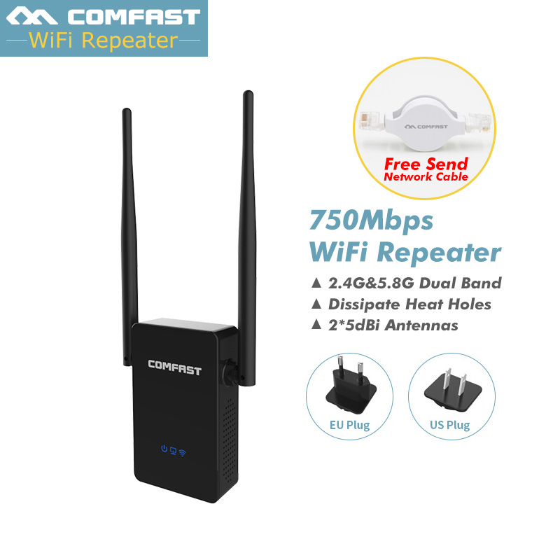 Wireless-N Wifi Repeater Wifi Router 750Mbps Dual Band Router English Firmware Wi-fi 5 Ghz 2.4G Wi Fi Range Extender Eu/Us Plug