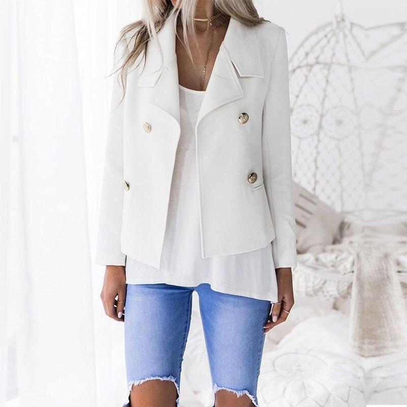 Manga Casual Solapa Outwear Slim Abrigo 2018 Abrigos Mujeres blanco Negro De Sólido Oficina Trabajo Moda Traje Larga Las Otoño Elegante 8XwXnpFEq