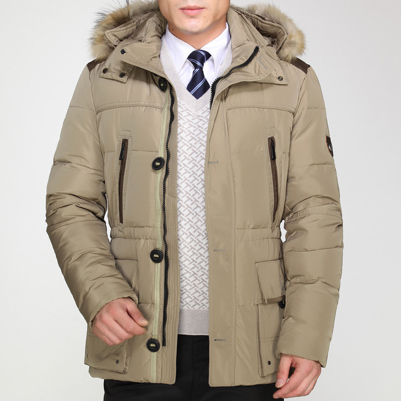 100% Duck Down Jacket Men Thickening Business Leisure Fur Collar Winter Mens Jackets And Coats Big Size Hooded Parkas Men