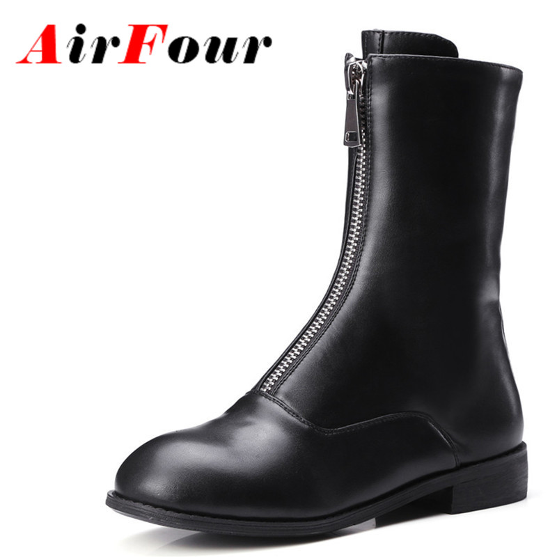 ФОТО Airfour Winter Low Heel Zipper Half Boots Black White Classics Color Martin Boots Fashion Women Motorcycle Boots