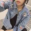 Bordados de flores Clássico Solto Comprimento calças de Brim Mulheres Jaqueta outono Jaqueta Jeans Reta das Mulheres Meninas longo Casaco jaqueta tamanho Grande