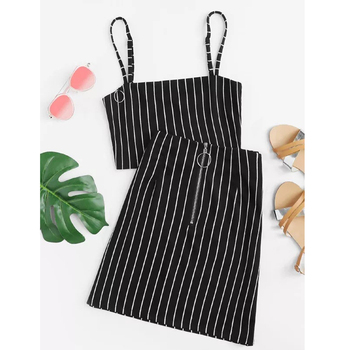 Black sexy 2 Piece Women Outfits Fashion Festival Set Co-ord Short Crop Top Skirt Plaid 2019 Summer zipped Suits Female Clothing 3
