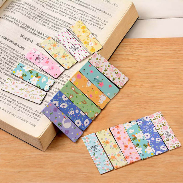 6 Pcs/lot Cute Stationery Noctilucent Magnetic Bookmarks Creative Colored Flowers Paper Bookmark Office School Supplies Students