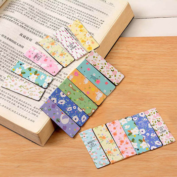 цены 6 pcs/lot Cute Stationery Noctilucent Magnetic Bookmarks Creative Colored Flowers Paper Bookmark Office School Supplies Students