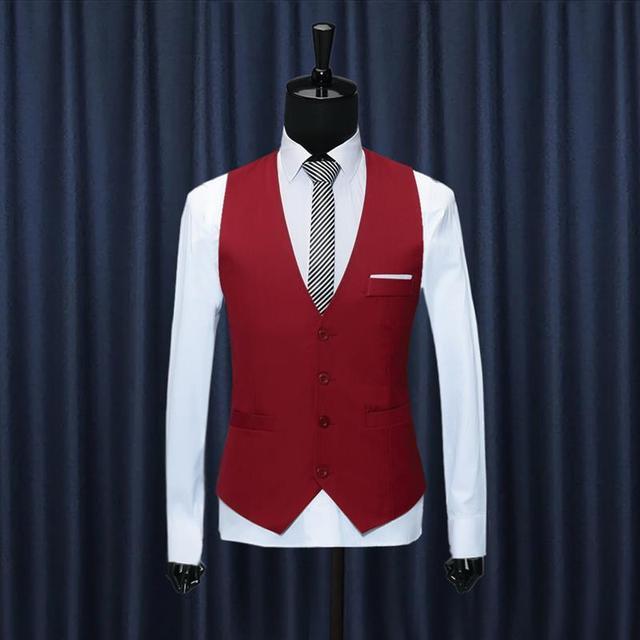 Vest 2016 New Arrival Chaleco Hombre Moda Sólidos Slim Fit Homens colete De Casamento Vestido Formal Colete gilet homme Preto Vermelho azul