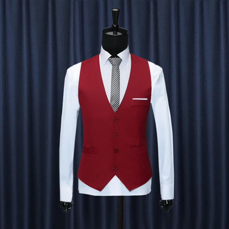 Vest 2020 New Arrival Chaleco Hombre Fashion Solid Slim Fit Vest Men Wedding Dress Formal Waistcoat Gilet Homme Black Red Blue