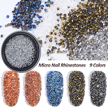 1Box 1.2mm Micro Crystals Glitter AB Nail Rhinestones Silver/Rainbow/Rose Gold/Champagne Eye Shape Art