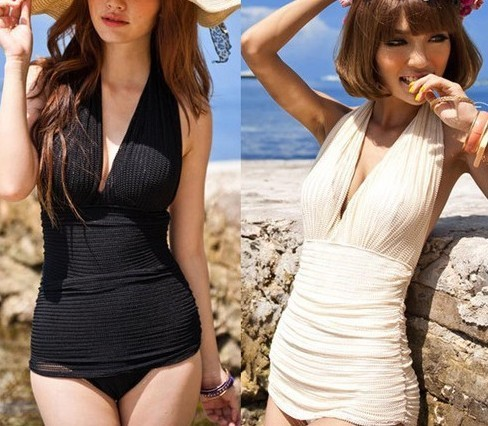 19ebed430a913 One Piece womens sexy Swimsuit Deep V Halter Swimwear Swim Dress Bathing  Suits in white black
