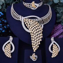 Siscathy 2019 Hot Luxury Feather Lariat Flower Women Wedding Cubic Zirconia Statement Choker Necklace Earring Dubai Jewelry Sets