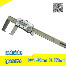 Cheaper Free shipping 0-150mm Good quality High accuracy Stainless steel Outside groove Digital Caliper points calipers With Flat