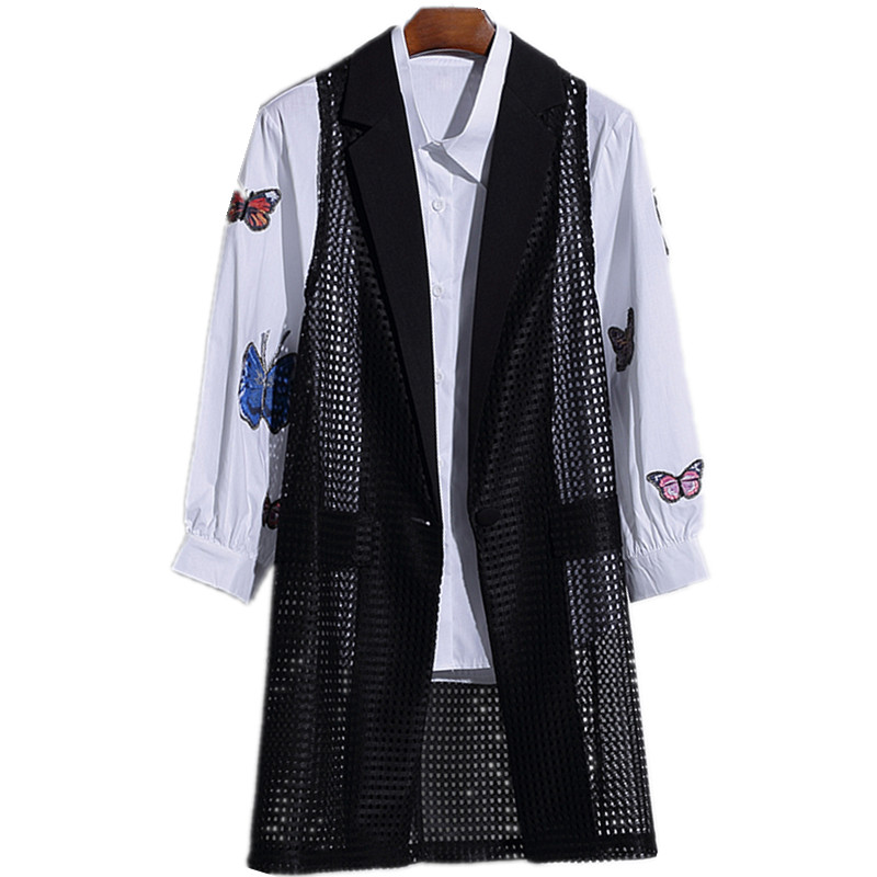 Fashion Hollow Out Summer Waistcoat For Women Black Thin Vests Long Large Size Female -2183