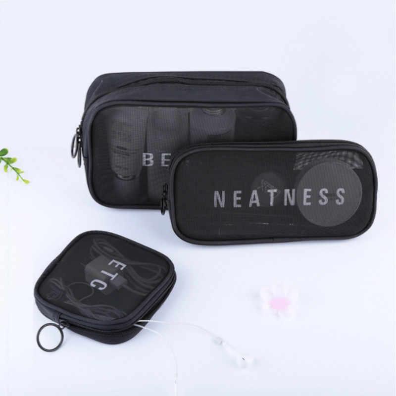 e2485fa045e2 Travel Small Large Cosmetic Bag Set Small Large Makeup Mesh Black Toiletry  Bags Women Men Wash Organizer Pouch Case