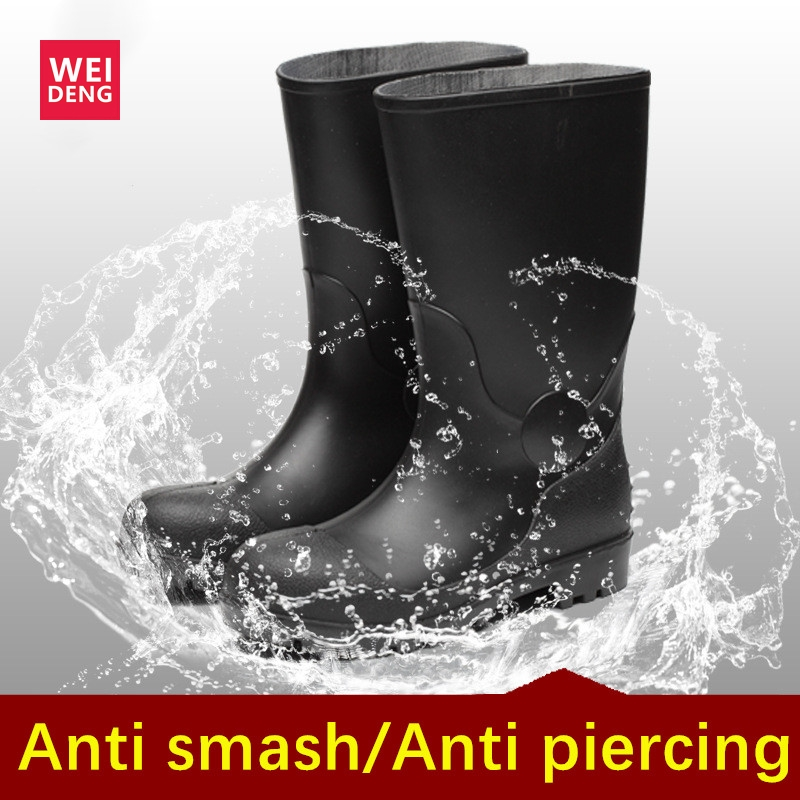 WeiDeng Construction extérieure Tunnel Construction imperméable travail bottes de sécurité résistant aux chocs chaussures anti-crevaison