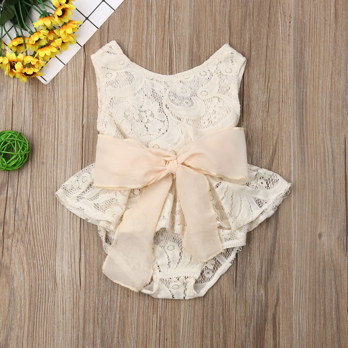 Pudcoco Summer Newborn Baby Girl Clothes Sleeveless Solid Color Lace Flower Ruffle Bowknot Romper One-piece Outfit Sunsuit