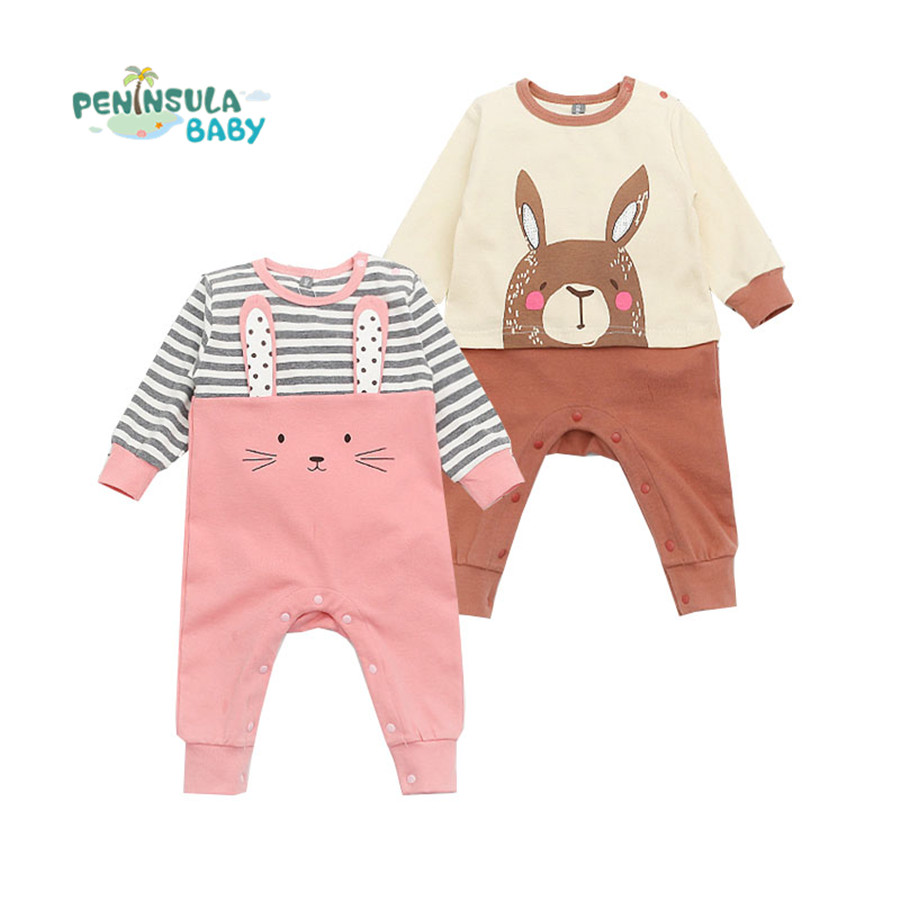 Baby Rompers Spring Baby Boy Girl Clothing Newborn Infant Kids One-piece Long Sleeve Toddler Clothes Cartoon Animal Jumpsuit cotton baby rompers infant toddler jumpsuit lace collar short sleeve baby girl clothing newborn bebe overall clothes