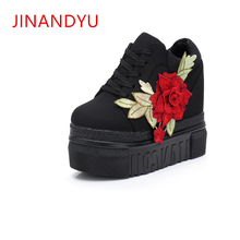 Hidden Heel 12CM Embroidered Flowers Wedges Shoes Women Platform Canvas Shoes Woman White Lace Up Thick Sole Sneakers Red Black cloth camouflage lace up hidden heel womens sneakers