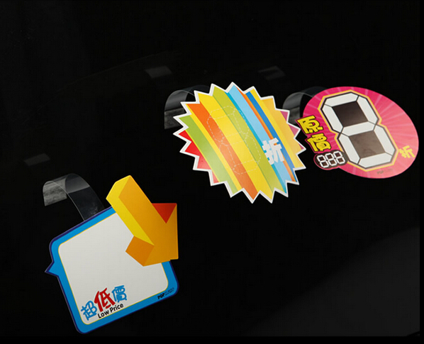 POP Advertising Promotion Explosion Paper Price Label Tag Name Card Display PVC Shelf Wobble Sign Holder In Supermarket