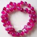 "Lovely round beads 10mm lovely pink chalcedony agate jade newly stone diy necklace 18"" MY4539"