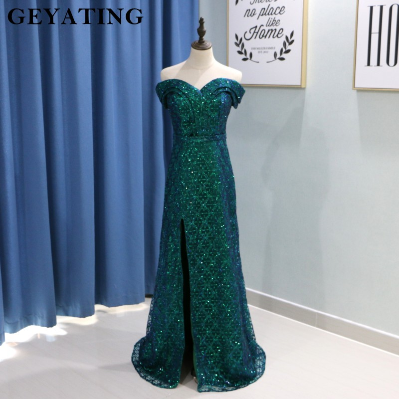 Saudi Arabic Dark Green Mermaid Evening Dress Long Detachable Train Prom Dresses 2019 Dubai Turkish Off Shoulder Evening Gowns 4