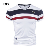 YYFS Men Shorts Sleeve T Shirts For Man 2017 New Summer 100 Pure Cotton Vintage Patchwork