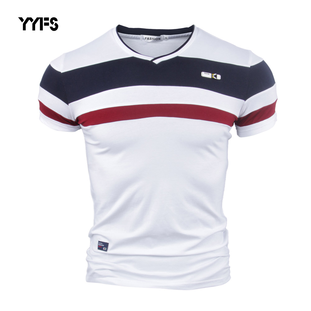 Yyfs Men Short Sleeve T Shirts For Man New Summer 100% Pure Cotton Vintage Patchwork Tees V Neck Cotton Tshirt Homme M-4xl