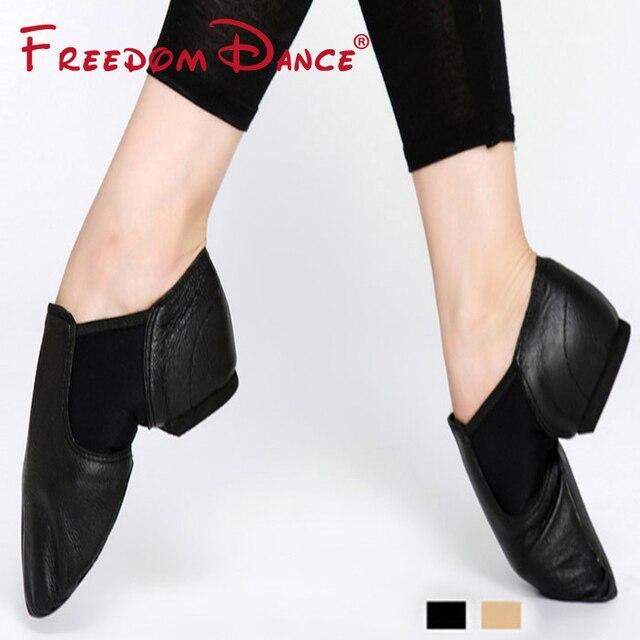 De cuero genuino doble Gores Stretch Jazz zapatos de baile zapatos Slip-On  Ballet danza 5b5e0415423