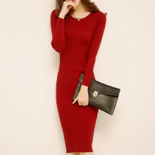 Sweater Dresses New Autumn Winter Women Sexy O Neck Slim Long Knitted Dress Female Sheath Bodycon Dress Party Vestidos AB390