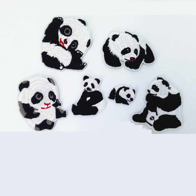 China Animal Black White Repair Badge Patch Embroidered Patches For Clothing Iron On For Close Shoes Bags Badges Embroidery DIY