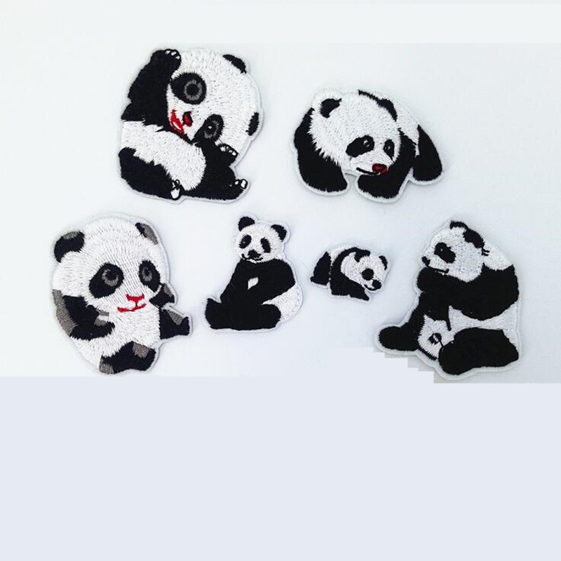 China Animal Black White Repair Badge Patch Embroidered Patches For Clothing Iron On For Close Shoes Bags Badges Embroidery DIY in Patches from Home Garden