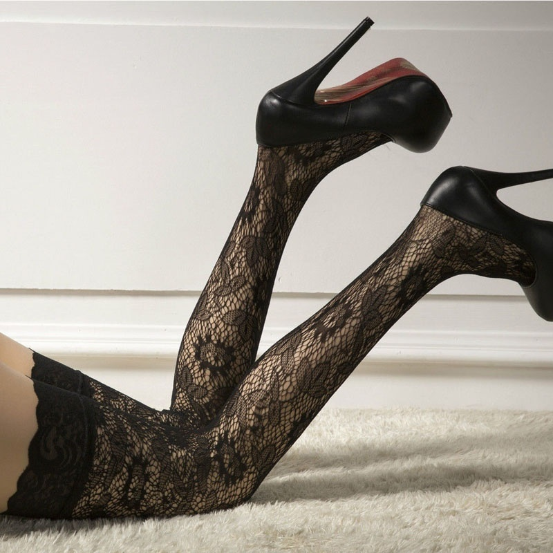 Sexy Fashion 1Pair Women Lace Floral Print Stay Up Thigh High Stocking Sexy Lingerie Pantyhose Stockings Black