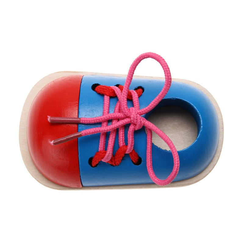 1pc Kids Montessori Educational Toys Children Wooden Toys Toddler Kids Lacing Shoes Early Learning Toy Montessori Teaching Aids 5