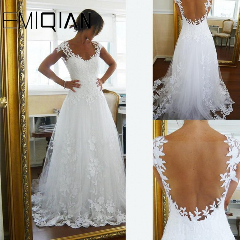 Elegant A-Line V Neck Cap Sleeve Court Train Tulle Wedding Dress See-through Back Appliques Lace Bridal Gowns