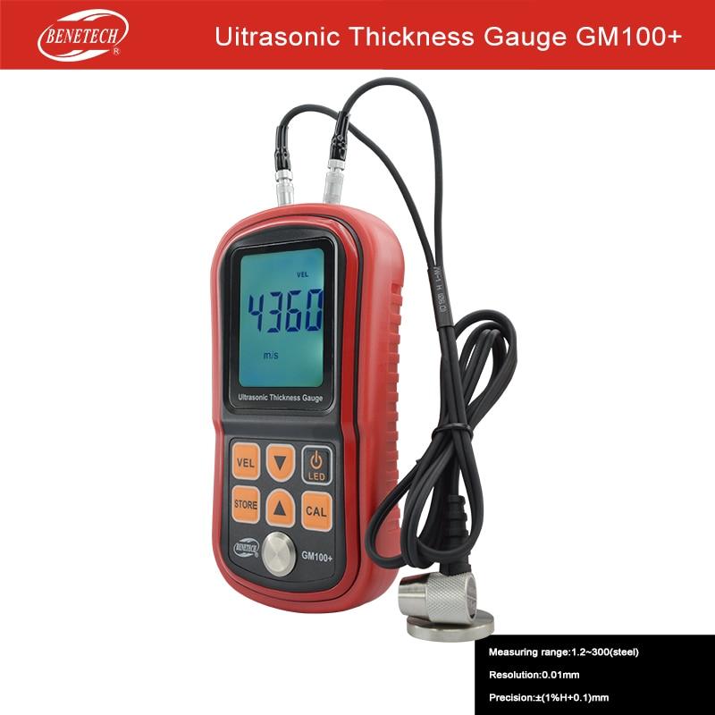 GM100+ Digital LCD Ultrasonic Thickness Meter Tester Gauge Metal Testing Width Measuring Instruments gm130 digital lcd display ultrasonic thickness gauge metal testering measuring instruments 1 0 to 300mm sound velocity meter