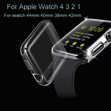 Transparent Watch Case For Apple Watch 4 3 2 1 PU Full Soft TPU Screen Shell For iwatch 44mm 40mm 38mm 42mm Protective Cover цена и фото