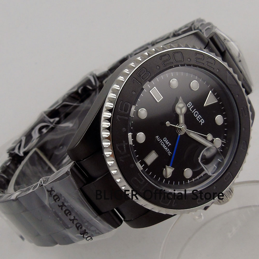 Sapphire Glass BLIGER 43MM Black Dial Black Ceramic Bezel Solid PVD Coated Case GMT Function Automatic Movement Mens Watch B201Sapphire Glass BLIGER 43MM Black Dial Black Ceramic Bezel Solid PVD Coated Case GMT Function Automatic Movement Mens Watch B201